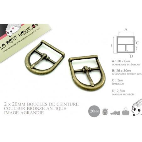 2 x 20mm Boucles de ceintures / Métal / Bronze Antique / Demi Rond
