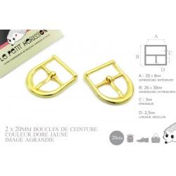 2 x 20mm Boucles de ceintures / Métal / Dore Jaune/ Demi Rond