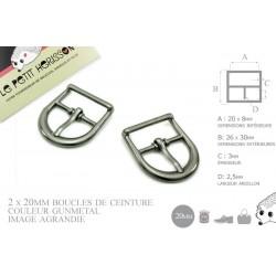 2 x 20mm Boucles de ceintures / Métal / Gunmetal / Demi Rond