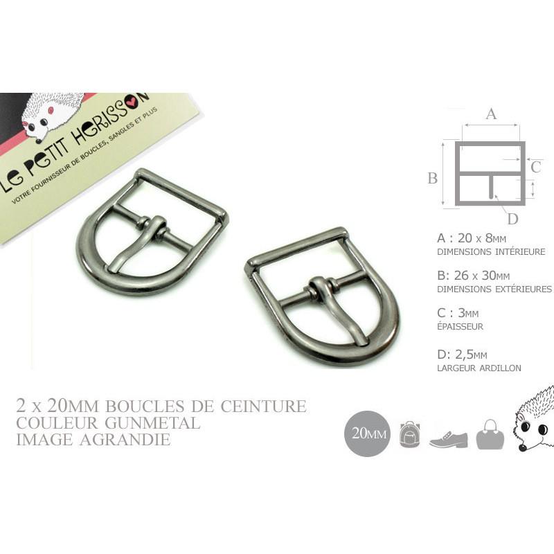 2 x 20mm Boucles de ceintures / Métal / Gunmetal