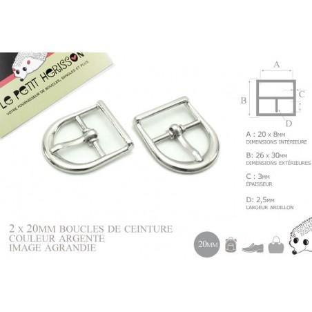 2 x 20mm Boucles de ceintures / Métal / Argente / Demi Rond