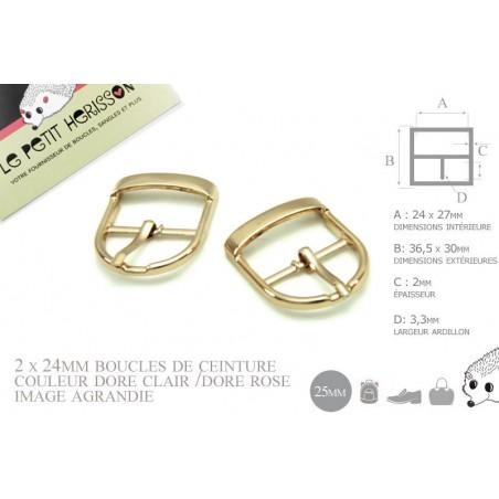 2 x 25mm Boucles de ceintures / Métal / Dore Rose / Pour les Chaussures