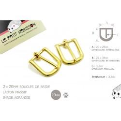 2 x 20mm Boucles de Bride / Laiton Massif