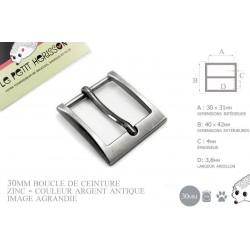 1 x 30mm  Boucle de ceinture / Métal / Argent Antique