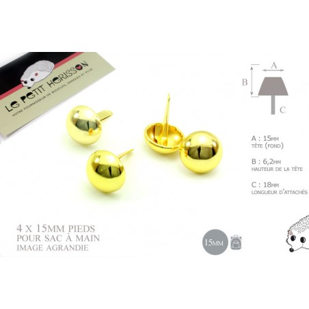 4 x 15mm Pieds pour Sac a Main / Métal / Rond / Dore Jaune