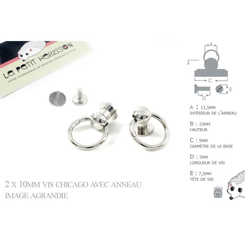 2 x 10mm Vis chicago avec anneau / Metal / Nickel