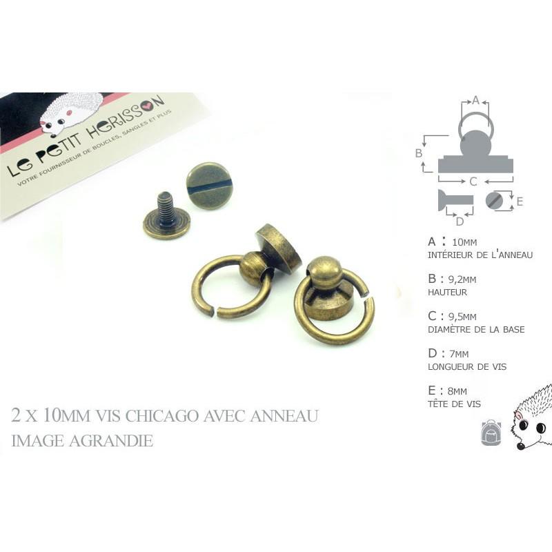 2 x 10mm Vis chicago avec anneau / Metal / Bronze