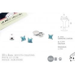 10 x 4mm Rivets Décoratifs Chaton / Carré / Bleu Turquoise
