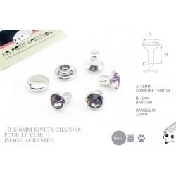 10 x 6mm Rivets Décoratifs Chaton / Rond / Violet