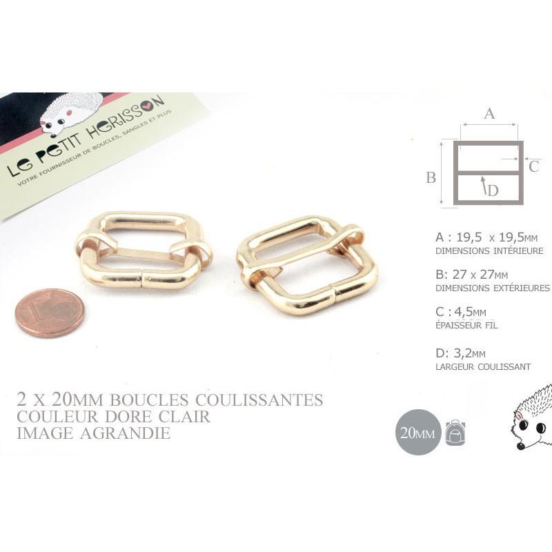 2 x 20mm Boucles Coulissantes / Boucles Réglables /  Metal / Carre / Dore Rose