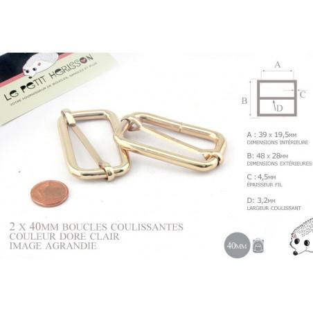 2 x 38mm Boucles Coulissantes / Boucles Réglables /  Metal / Dore Rose