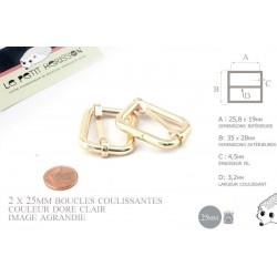2 x 25mm Boucles Coulissantes / Boucles Réglables / Metal / Dore Rose