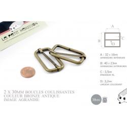 2 x 30mm Boucles Coulissantes / Boucles Réglables / Métal / Bronze Antique