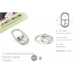 2 x 20mm Boucles de Licol / Boucles de Sellerie/ Métal / Chrome