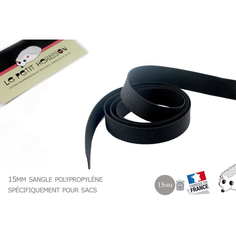 1m x 15mm Sangle / Polypropylène / Moyen / Noir / Fabrique en France