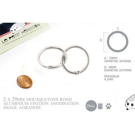 2 x 29mm Fermoirs Mousquetons/  Rond / Aluminium