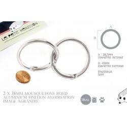 2 x 38mm Fermoirs Mousquetons/  Rond / Aluminium