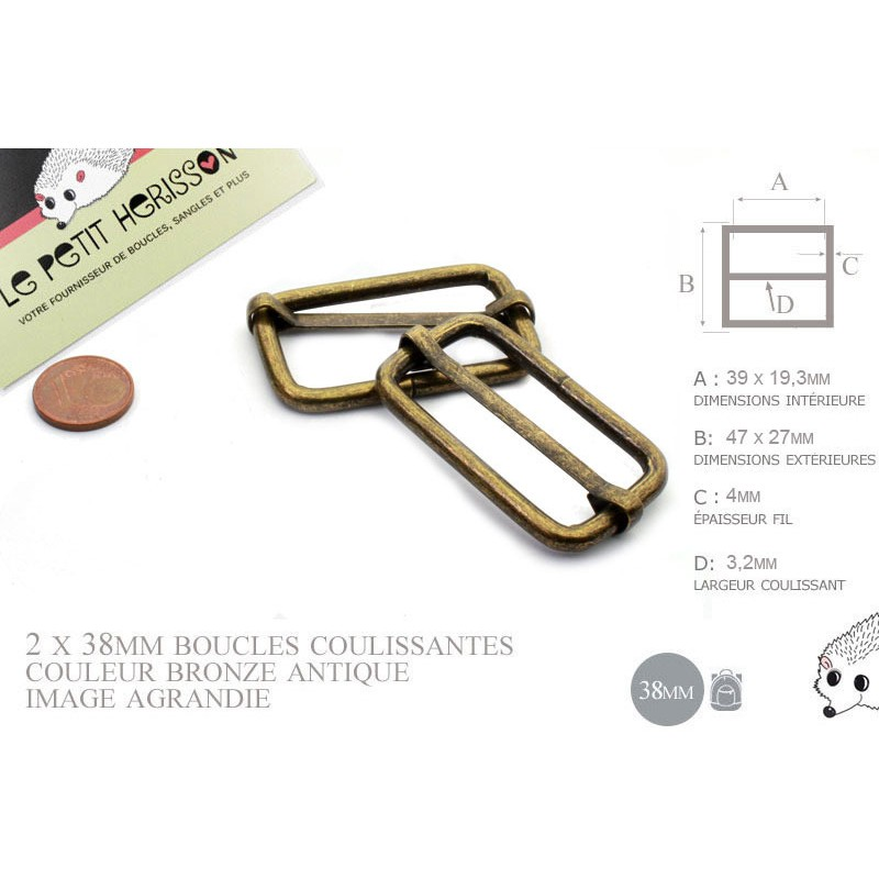 2 x 38mm Boucles Coulissantes / Boucles Réglables / Métal / Bronze Antique