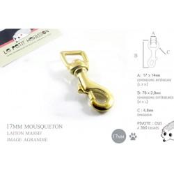 1 x 17mm Mousqueton Pivotant / Laiton Massif / Animaux