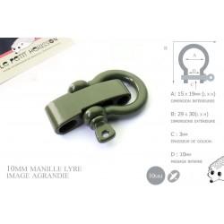 Manille Lyre / Metal / Forme C / Réglable / Vert
