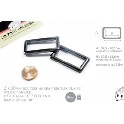 2 x 30mm Anneaux Rectangulaires / Passants Simples / Métal / Gunmetal