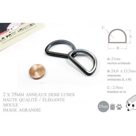 2 x 25mm Anneaux demi lunes / Metal / Moule / Haute Qualité / Gunmetal