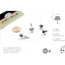 4 x 10mm pieds pour sac / métal / argente
