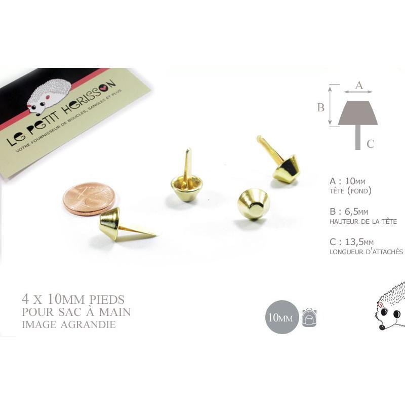 4 x 10mm pieds pour sac / métal / dore jaune