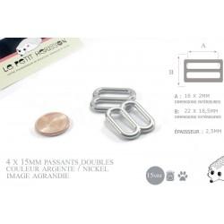 4 x 15mm Boucles Coulisse / Passants Doubles / Métal / Nickel