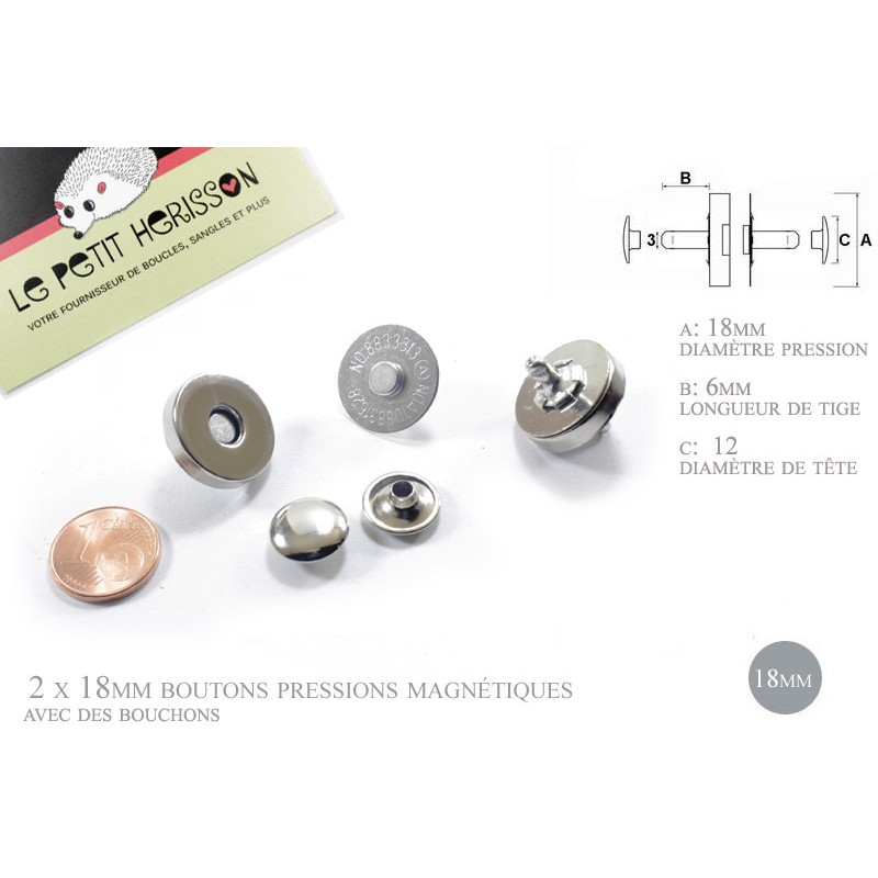 2 x 18mm rivets de fermoir / pressions magnétiques - plaque de nickel