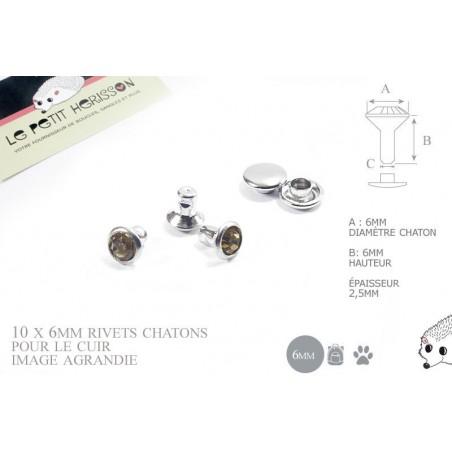10 x 6mm Rivets Décoratifs Chaton / Rond / Ambre Marron