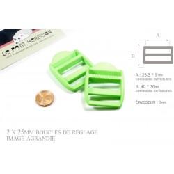 2 x 25mm Boucles de Règlage / Boucles de Serrage / Plastique / Vert Flo