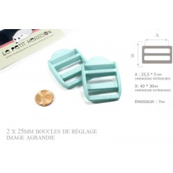 2 x 25mm Boucles de Règlage / Boucles de Serrage / Plastique / Turquoise  Clair