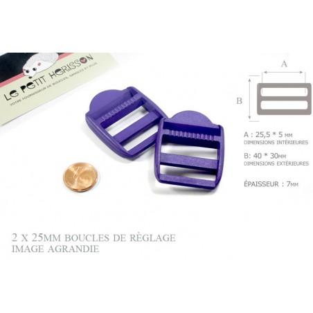 2 x 25mm Boucles de Règlage / Boucles de Serrage / Plastique / Violet