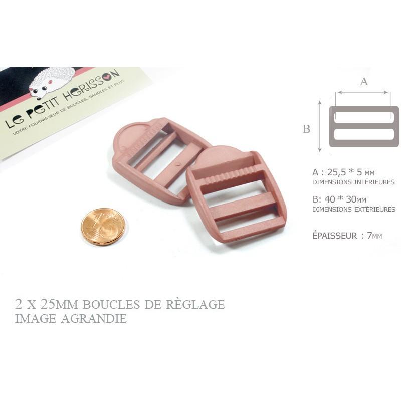 2 x 25mm Boucles de Règlage / Boucles de Serrage / Plastique / Beige