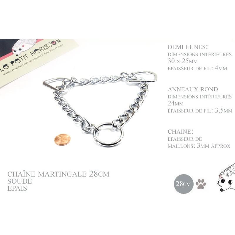 28cm chaîne martingale / metal / demis et anneaux / chrome
