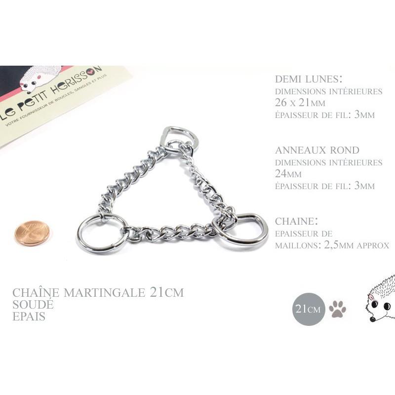 21cm chaîne martingale / metal / demis et anneaux / chrome