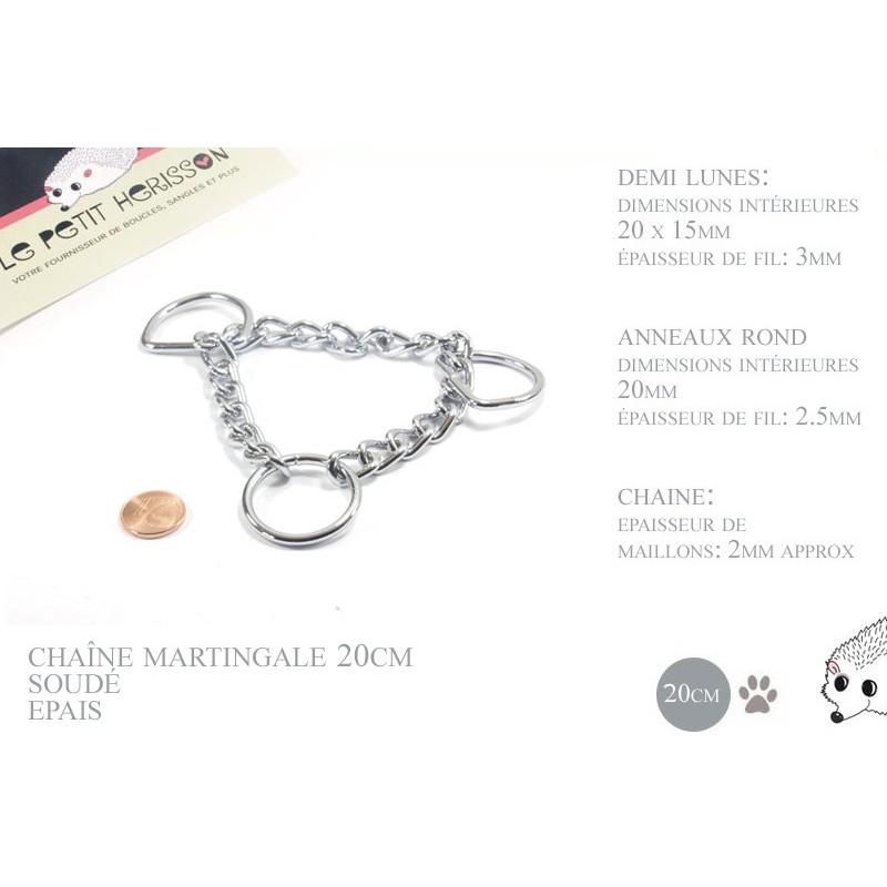 20cm chaîne martingale / metal / demis et anneaux / chrome