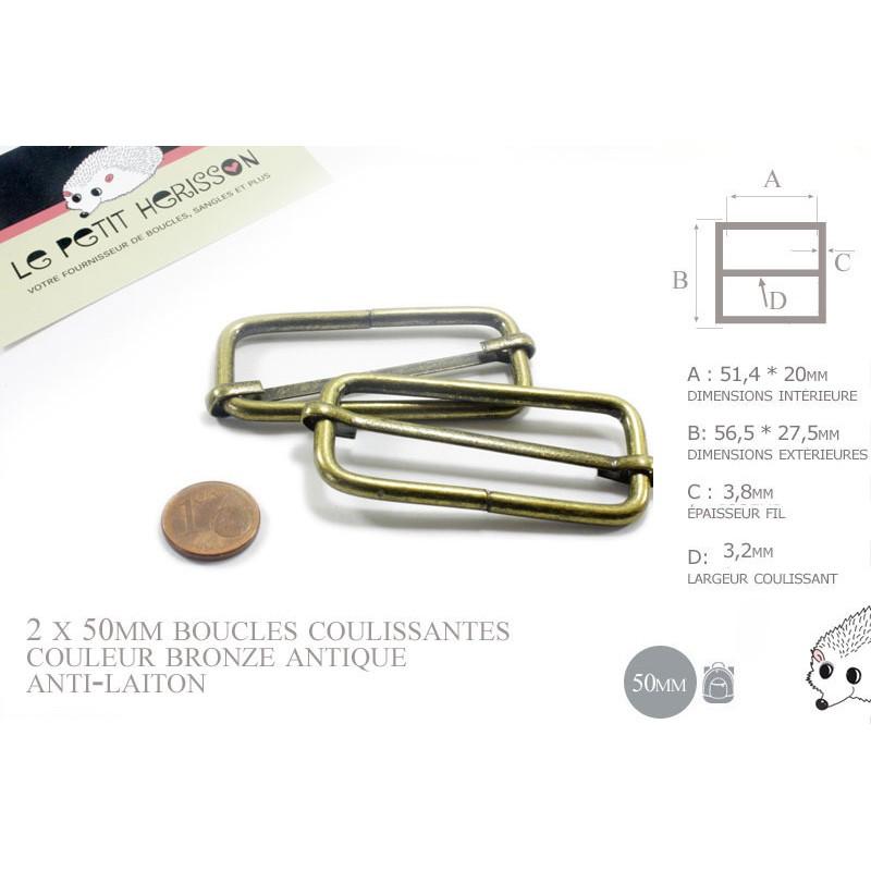 2 x 50mm Boucles Coulissantes / Boucles Réglables / Métal / Bronze Antique