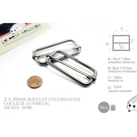 2 x 50mm Boucles Coulissantes / Boucles Réglables / Métal / Gunmetal Antique