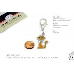 1 x 13mm Breloque / Pendentif Chat / Orange