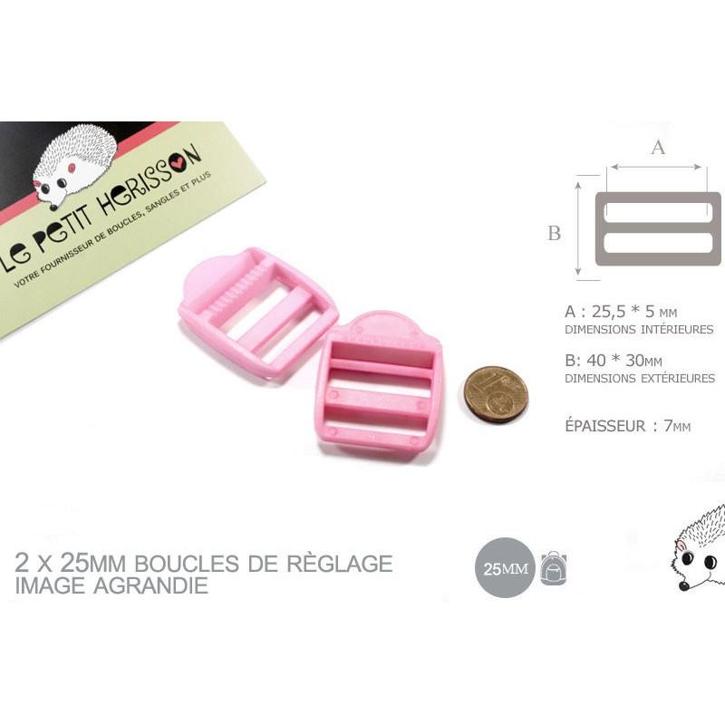 2 x 25mm Boucles de Règlage / Boucles de Serrage / Plastique / Rose Clair