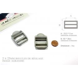 2 x 25mm Boucles de Règlage / Boucles de Serrage / Plastique / Gris