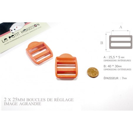 2 x 25mm Boucles de Règlage / Boucles de Serrage / Plastique / Orange
