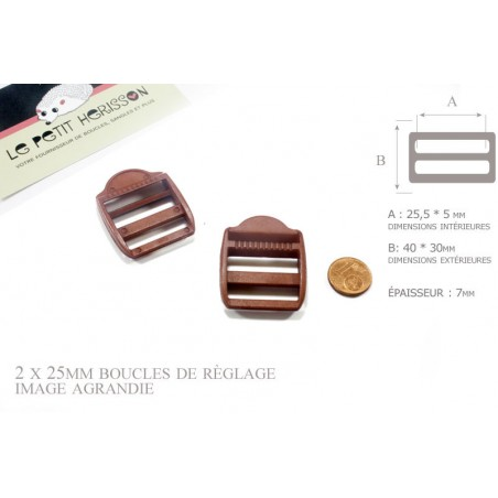 2 x 25mm Boucles de Règlage / Boucles de Serrage / Plastique / Marron