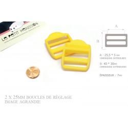 2 x 25mm Boucles de Règlage / Boucles de Serrage / Plastique / Jaune