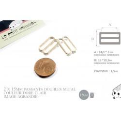 2 x 15mm Boucles Coulisse / Passants Doubles / Métal / Petite / Dore Rose