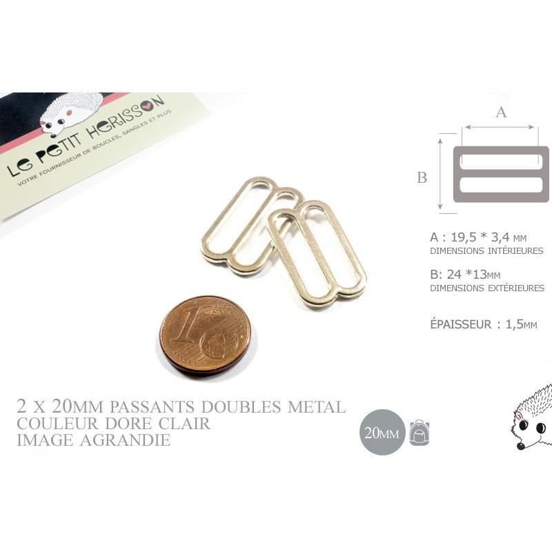 2 x 20mm Boucles Coulisse / Passants Doubles / Métal / Petite / Dore Rose