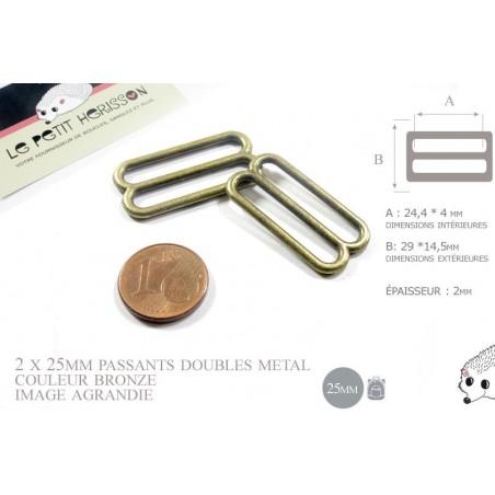 2 x 25mm Boucles Coulisse / Passants Doubles / Métal / Petite / Bronze