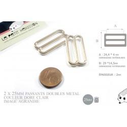 2 x 25mm Boucles Coulisse / Passants Doubles / Métal / Petite / Dore Rose